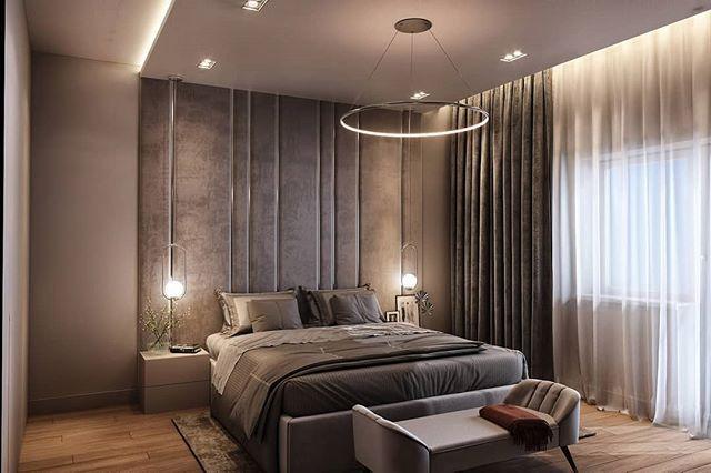 """Дизайн интерьера-спальни🛏 для молодой семьи.⠀⠀""""Ведь главное в жилом пространстве — это комфорт и эргономика🤗""""-с таким пожеланием обратились к нам владельцы спальни 🛏в 3-комнатной квартире.⠀⠀Центральное место в интерьере спальни занимает кровать🛏.Ее изголовьем стали мягкие️ панели на стене.⠀⠀Панели решили разбить на разные по ширине️ вертикальные полосы, чтобы придать композиции дополнительный ритм и визуально подчеркнуть высоту потолков, а встроенная подсветка, служит в качестве локального освещения.⠀⠀Шкаф решили сделать до потолка в цвет основных стен, чтобы визуально скрыть его объемы. ⠀⠀А вертикальные дверцы шкафа отлично поддержат мягкие панели и рейки на противоположной стене от кровати. ⠀⠀Игорь и Екатерина🛠 Отделочные работы и дизайн интерьера️Опыт более 10 летРаботаем без выходных⠀⠀🏘 работая с нами Вы получите: Поддержку проекта Выезд специалиста на объект Авторский надзор Подбор предметов интерьера Комплектацию объекта Опытную бригаду строителей Помощь на всех этапах⠀ Пишите в директ Звоните +7 960 47 888 37 Наш сайт DSR.CENTER⠀⠀#жкакварели #жкфонтаны #жкюжане #жкгарантия #жктургенев #жкседьмойконтинент #югстройимпериал #неометрия #мегаальянс #гик #алмаксстрой #краснодарпроектстрой #dogma #нефтестройиндустрия"""